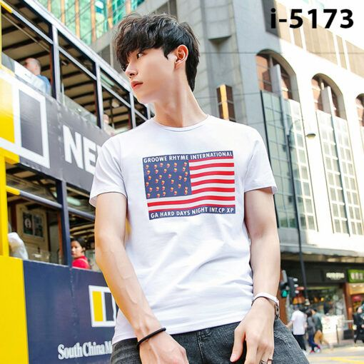 I5173 Ao Thun Nam Tay Ngan Hinh La Co GROOWE RHYME INTERNATIONAL