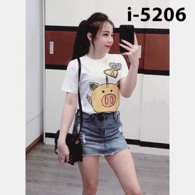 I5206 Ao Thun Nu Tay Ngan Hinh Con Heo Trai Tim