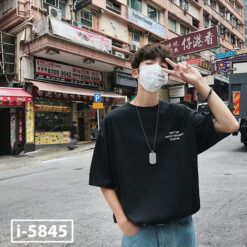 I5845 Ao Thun Nam Unisex Mau Den In Logo DONT SAY