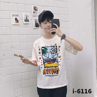I6116 Ao Thun Nam Tay Ngan In Hoa Tiet SKATEBOARDING