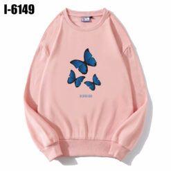 I6149 Ao Thun Nu Sweater Mau Hong In Hinh Con Buom Xanh