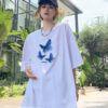 I6149 Ao Thun Nu Unisex Tay Lo Mau Trang Hinh Con Buom Xanh 1