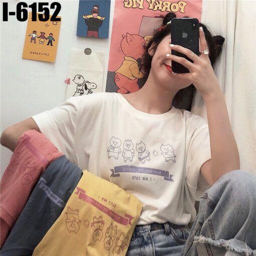 I6152 Ao Thun Nu Unisex Mau Trang In 4 Chu Heo I AM CUTE
