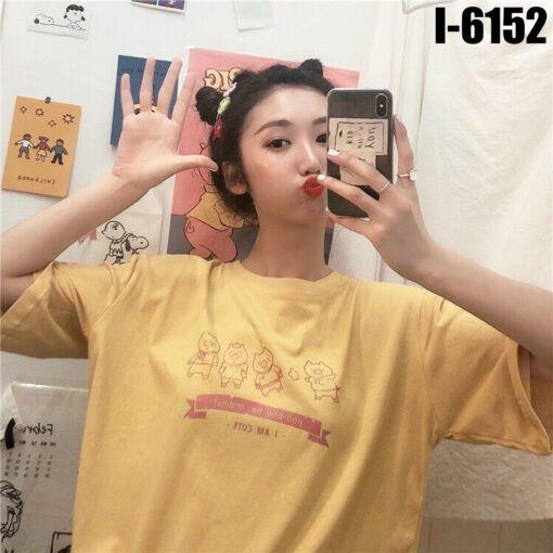 I6152 Ao Thun Nu Unisex Mau Vang In 4 Chu Heo I AM CUTE
