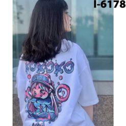 I6178 Ao Thun Nu Unisex Hoat Hinh XO XO XO