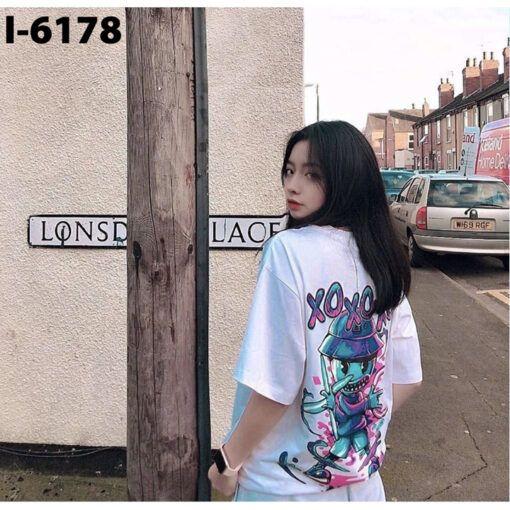 I6178 Ao Thun Nu Unisex In Hoat Hinh XO XO XO