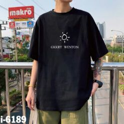 I6189 Ao Thun Nam Unisex Mau Den In Mat Troi GKKRT WENTON