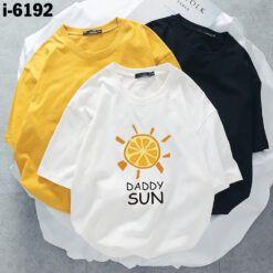 I6192 Ao Thun Nu Unisex Mau Trang In DADDY SUN