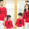I6242 Ao Thun Gia Dinh Tay Dai Bo Mau Do In LOVE