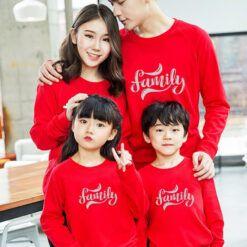 I6252 Ao Thun Gia Dinh Tay Dai Bo Mau Do In Family