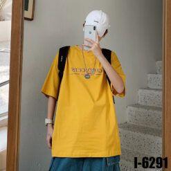 I6291 Ao Thun Nam Unisex Mau Vang In Chu CANDICEIS