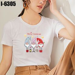 I6305 Ao Thun Nu Mau Trang In Merry Christmas