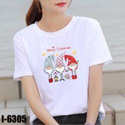 I6305 Ao Thun Nu Mau Trang In Noel Merry Christmas