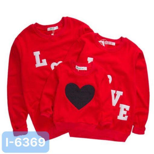 I6369 Ao Thun Sweater Gia Dinh In LOVE Trai Tim 2021