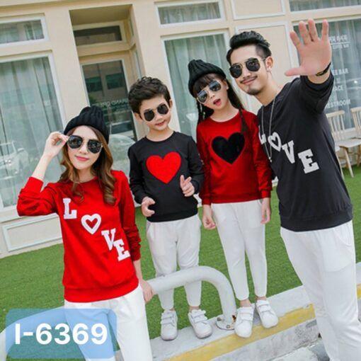 I6369 Ao Thun Sweater Gia Dinh In LOVE Trai Tim