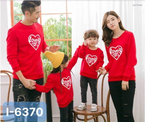 I6370 Ao Thun Sweater Gia Dinh In Trai Tim Loves Son