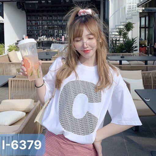 I6379 Ao Thun Nu Mau Trang In Chu C