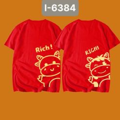 I6384 Ao Thun Mau Do In Rich Con Trau