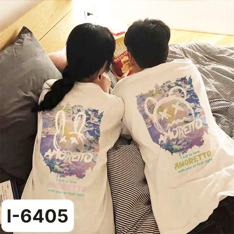 I6405 Ao Thun Doi Unisex Mau Trang In AMORETTO