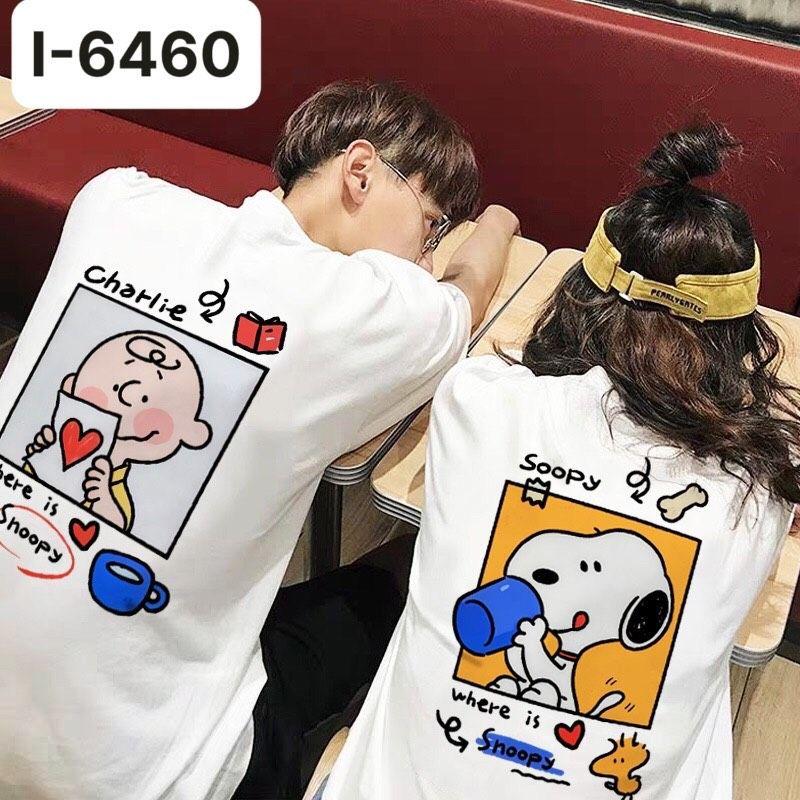 I6460 Ao Thun Doi In Cho Snoopy Hoat Hinh