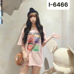 I6466 Ao Thun Nu Mau Hong In Gau Bup Be SOUL UNIROY