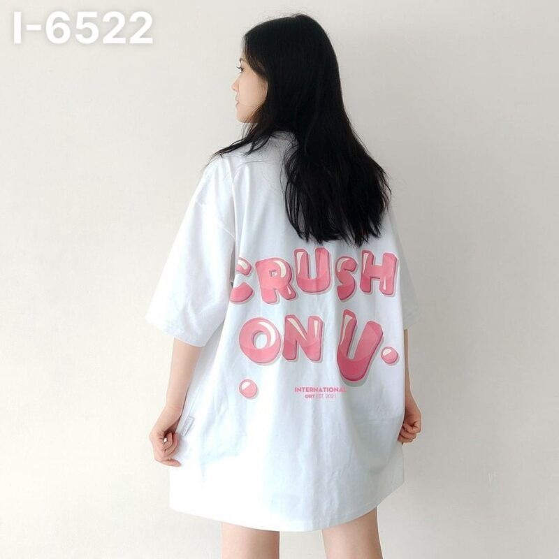 I6522 Ao Thun Nu Unisex Mau Trang In Chu CRUSH ON U