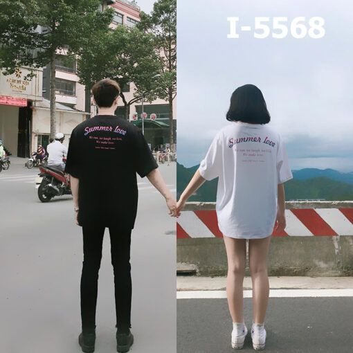 i5568 ao thun doi unisex chu summer love 9988